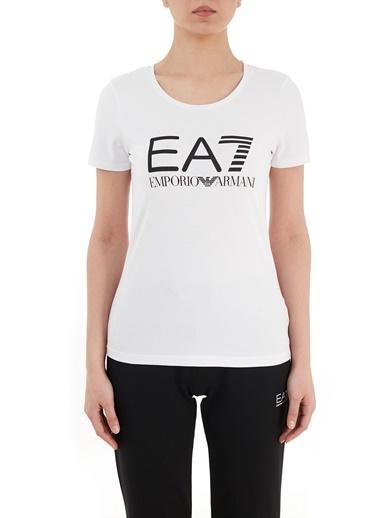 Emporio Armani  Baskılı Bisiklet Yaka Pamuklu T Shirt Kadın T Shırt S 3Gtt05 Tj29Z 1100 Beyaz